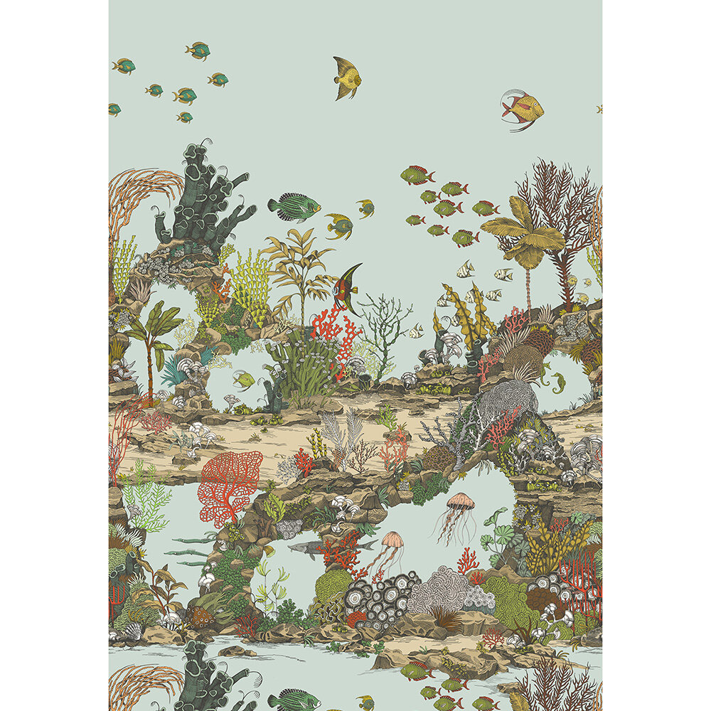 Underwater Jungle Mural - Soft Aqua and Coral - by Josephine Munsey