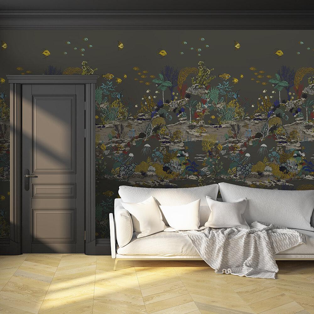 Underwater Jungle Mural - Graphite and Jewel highlights - by Josephine Munsey