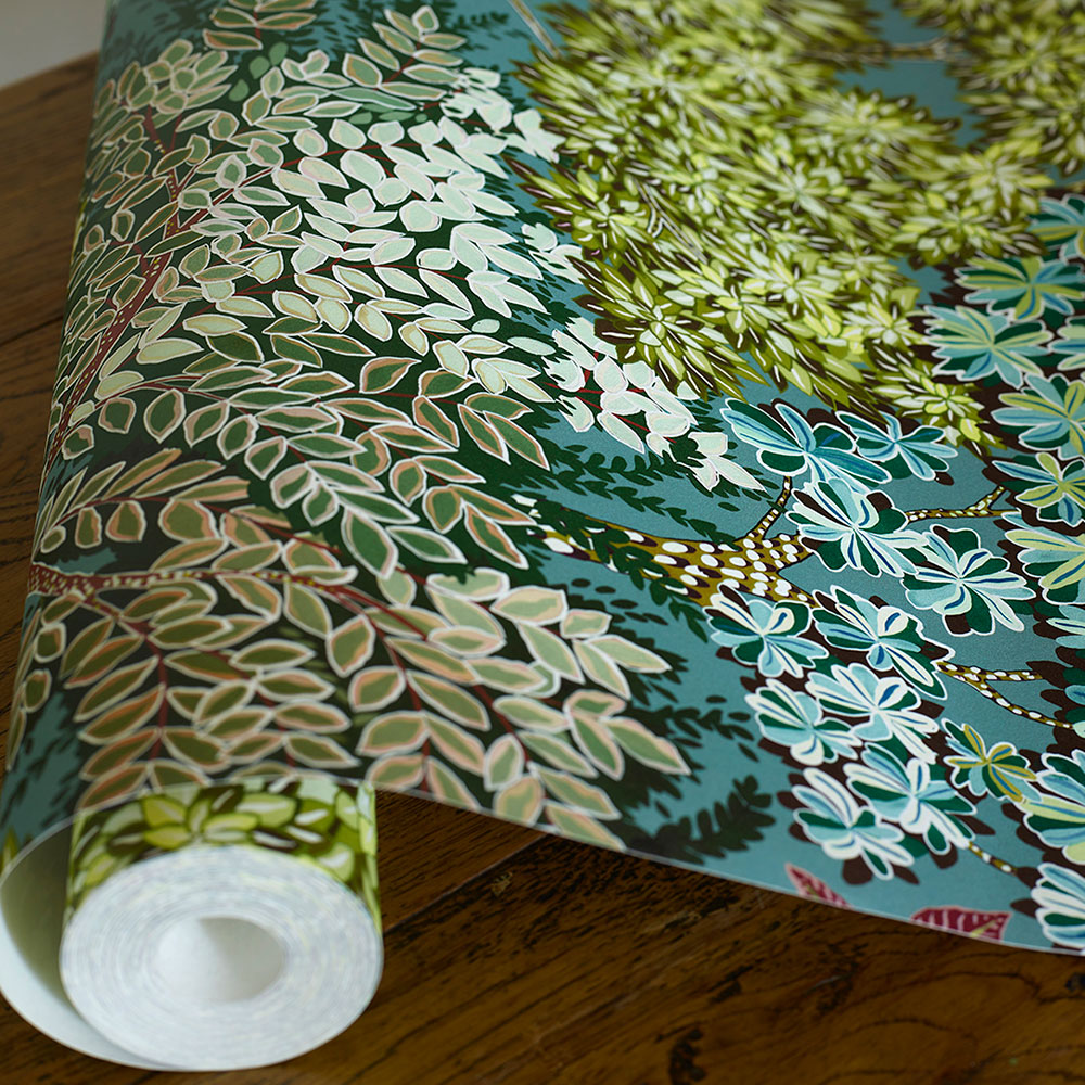 Broccoli Canopy Wallpaper - Celadon, Olive green & deep red - by Josephine Munsey