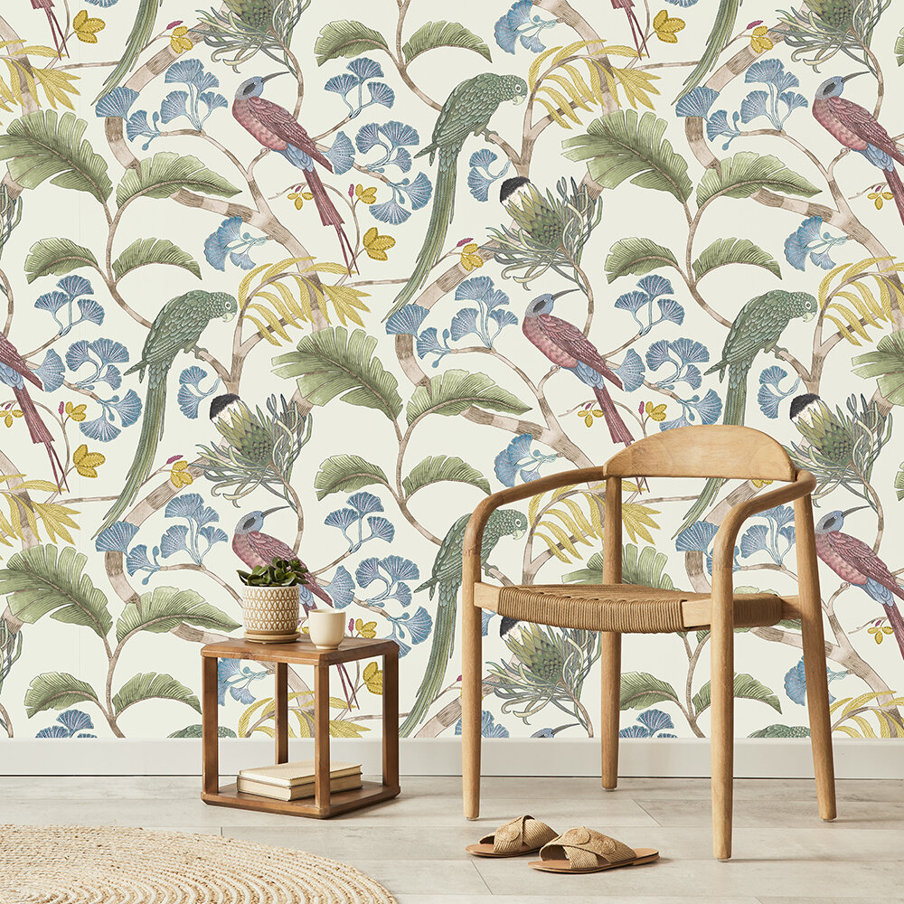 Living branches Wallpaper - Ivory, Soft Olive & Yellow - by Josephine Munsey