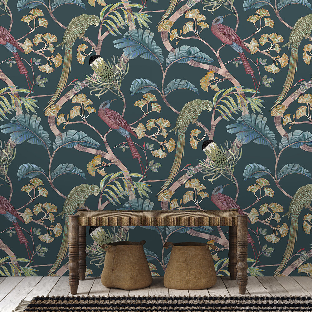 Living branches Wallpaper - Dark teal, Yellow and Olive - by Josephine Munsey