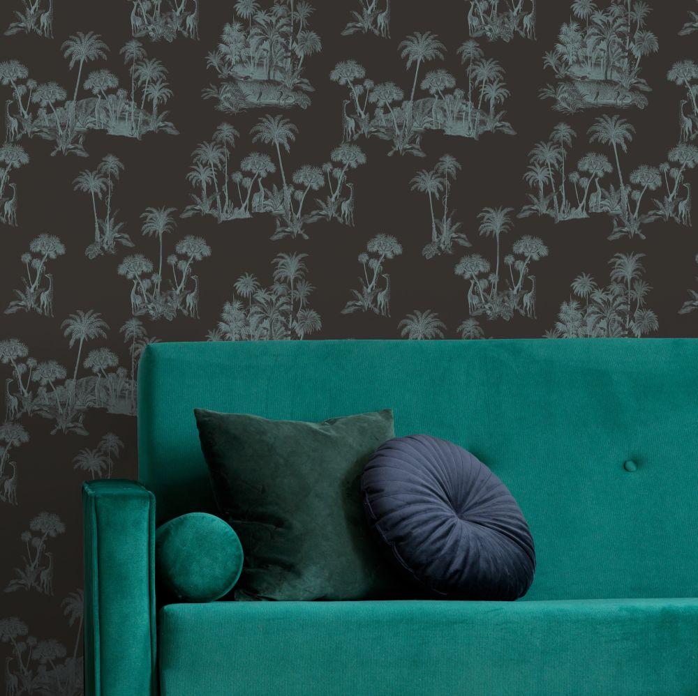 Laurel Wallpaper - Black / Blue - by Ted Baker