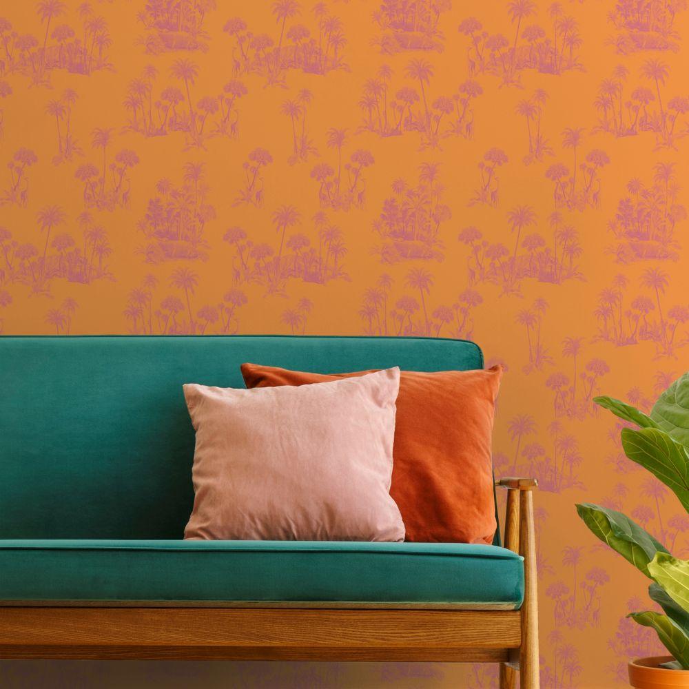 Laurel Wallpaper - Orange - by Ted Baker