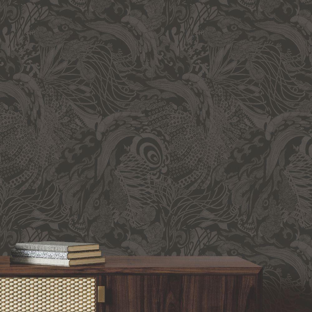 Eastern Tide Wallpaper - Black - Suede - by Ted Baker