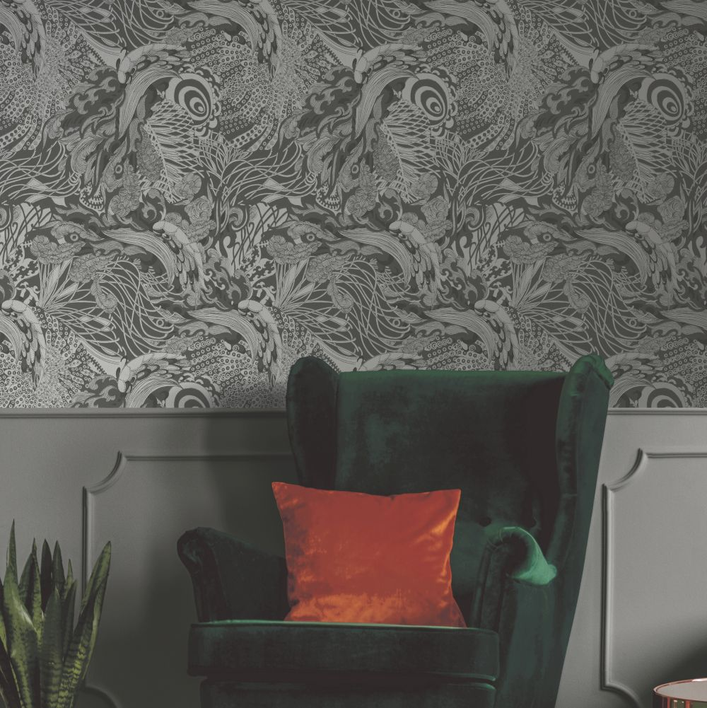 Eastern Tide Wallpaper - Charcoal - by Ted Baker
