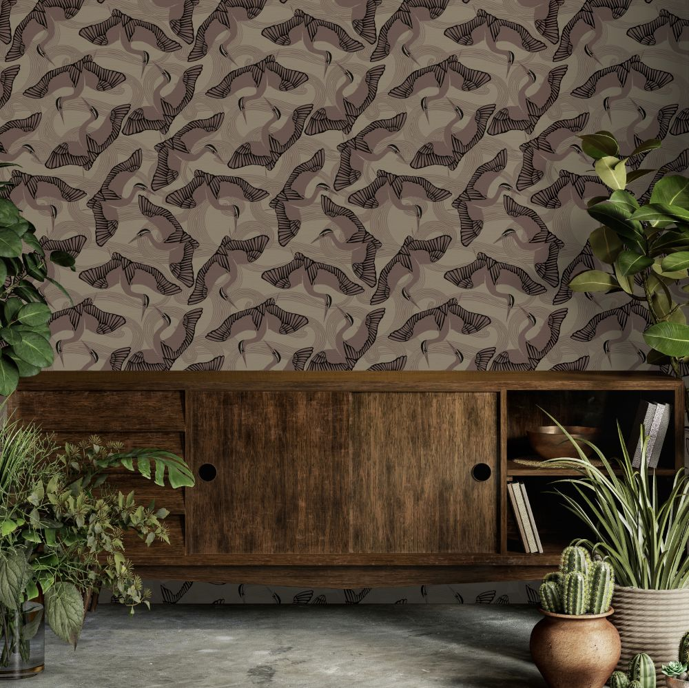 Cranes Wallpaper - Brown - by Ted Baker