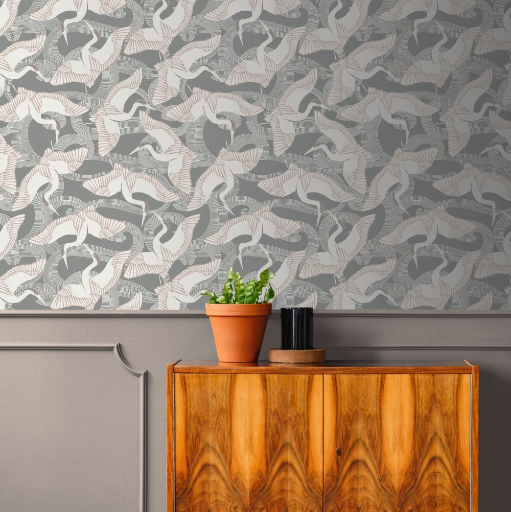Cranes Wallpaper - Grey - by Ted Baker