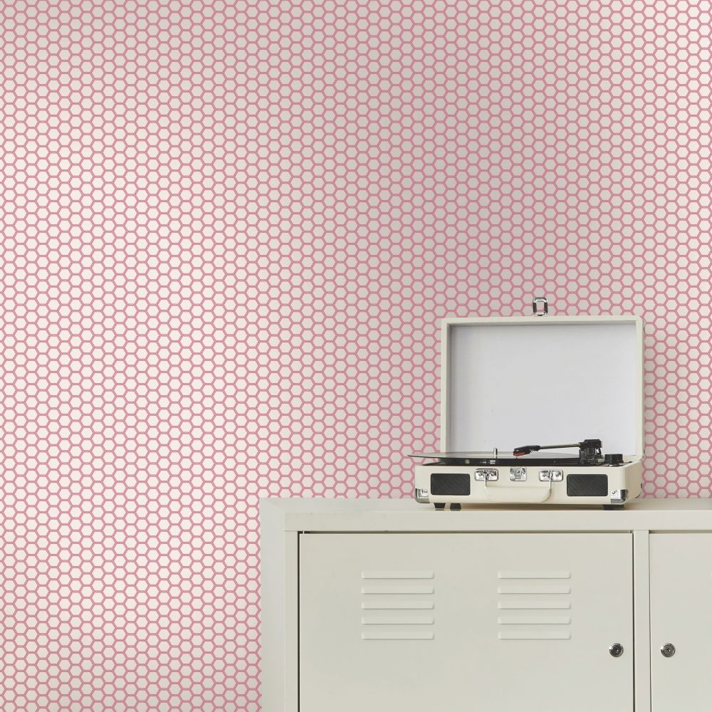 Hexie Wallpaper - Pink - by Ted Baker