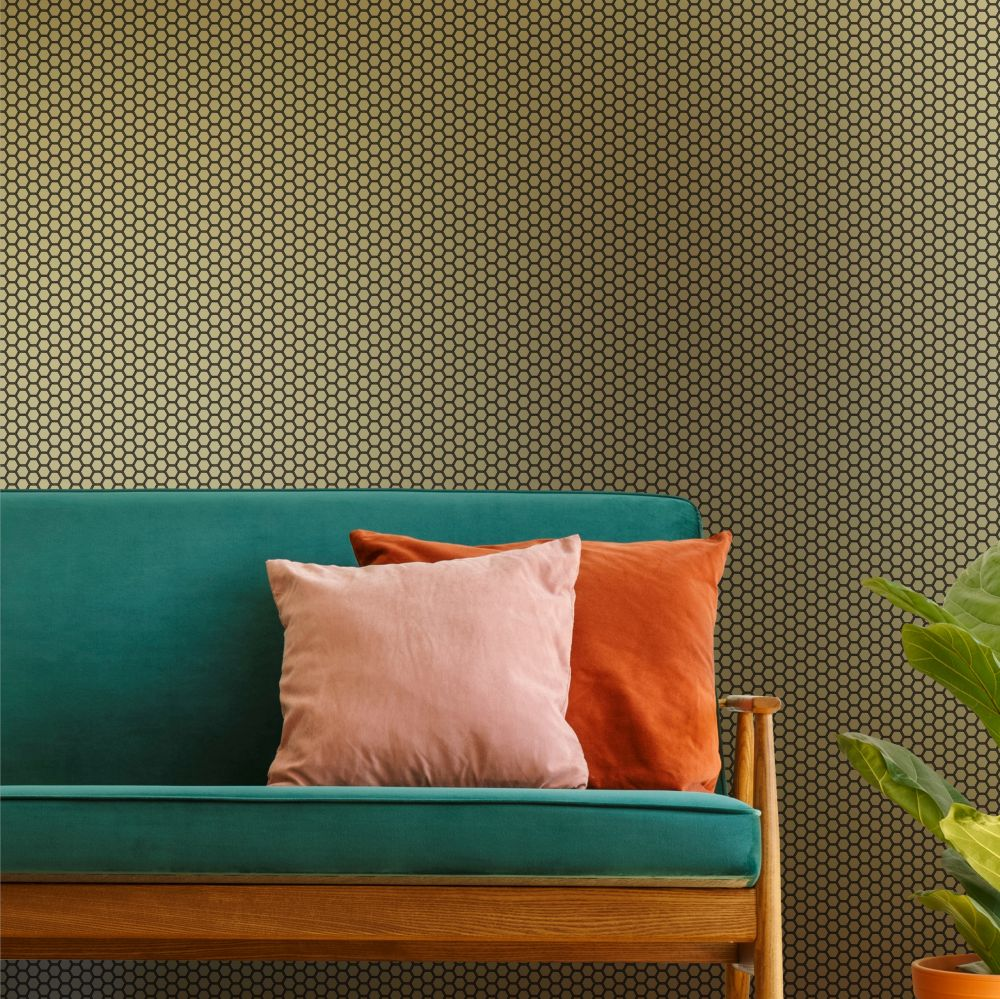 Hexie Wallpaper - Gold - by Ted Baker