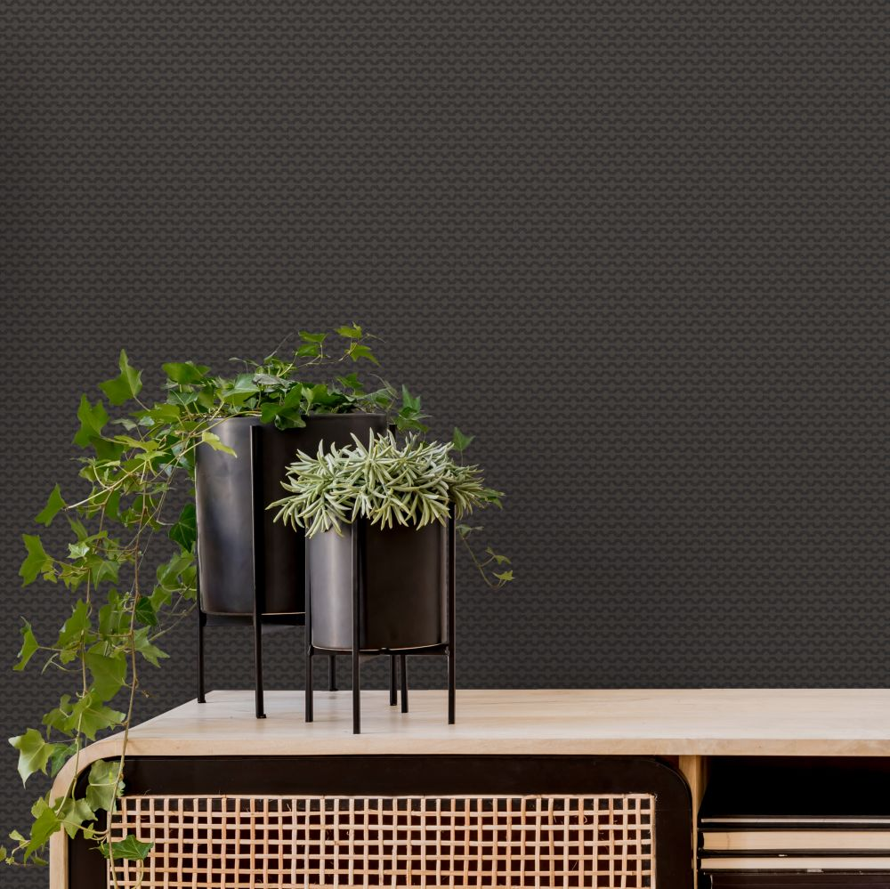 Mano Wallpaper - Charcoal - by Ted Baker