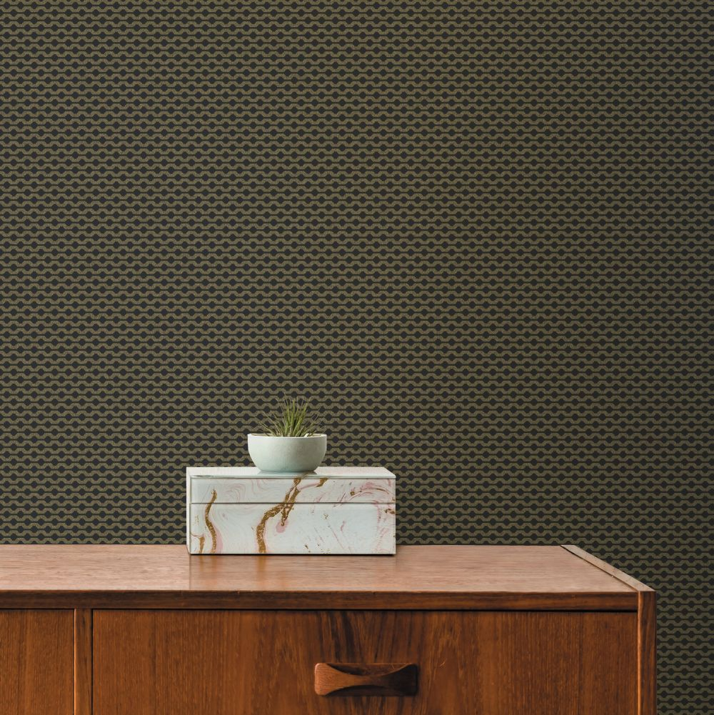 Mano Wallpaper - Black / Gold - by Ted Baker