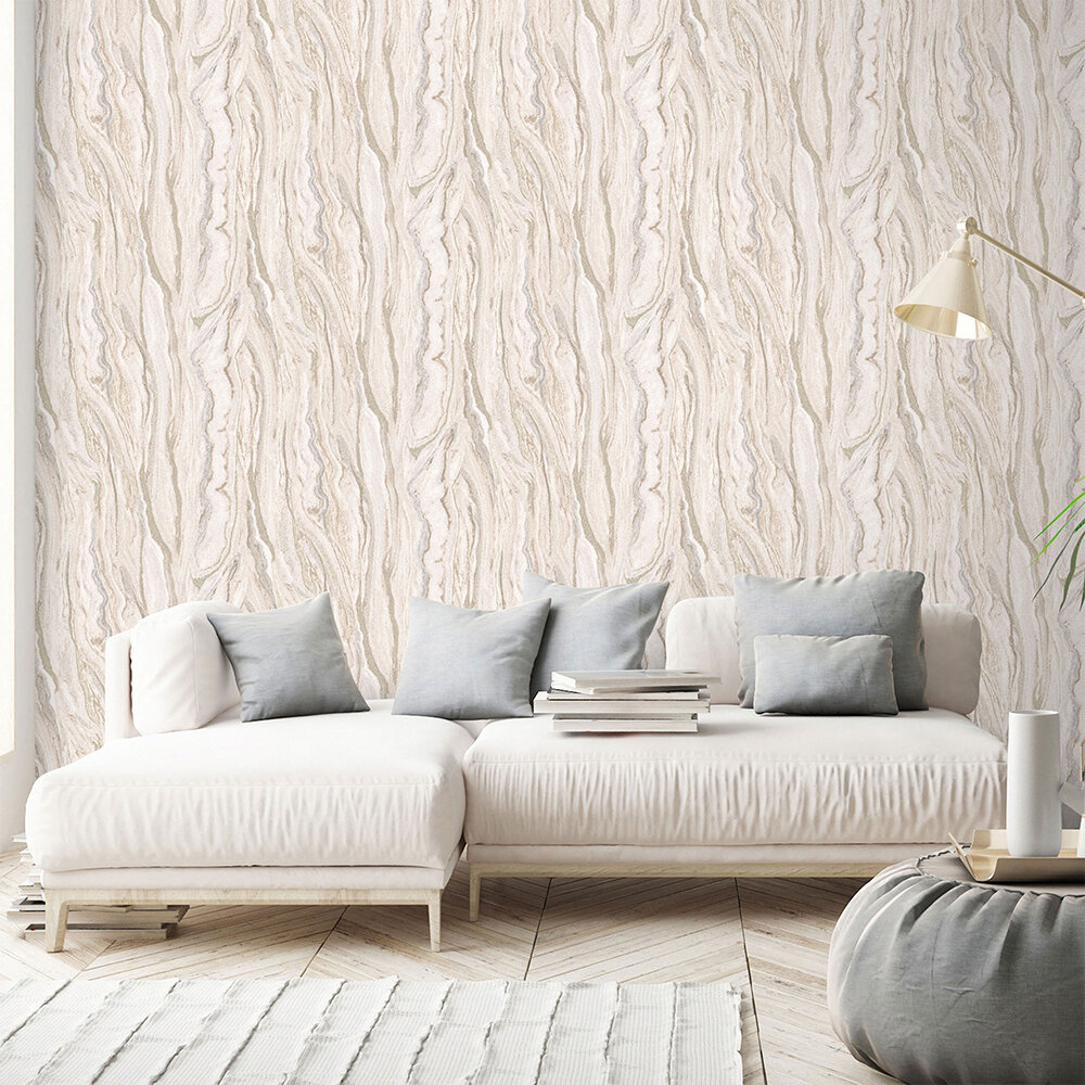 Marble Wallpaper - Blush Pink/ Gold - by Galerie