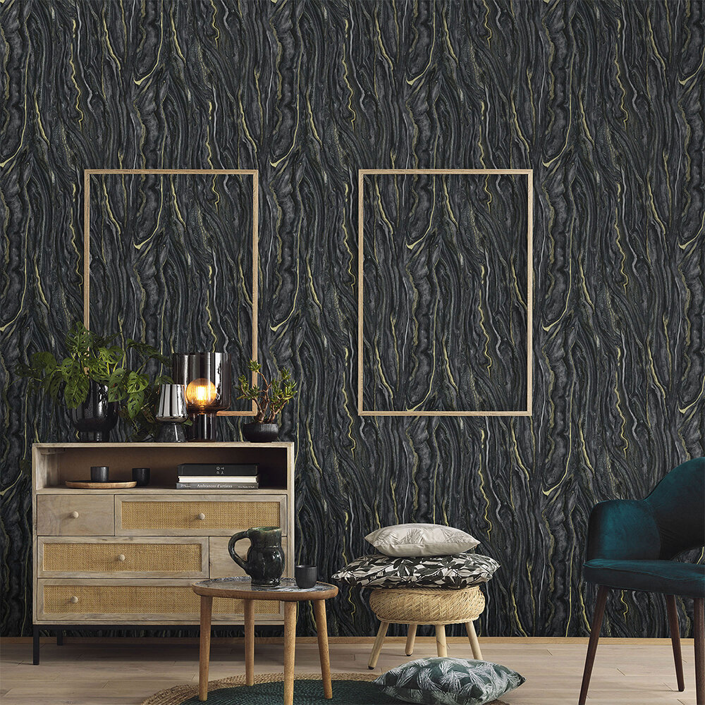 Marble Wallpaper - Black/ Gold - by Galerie