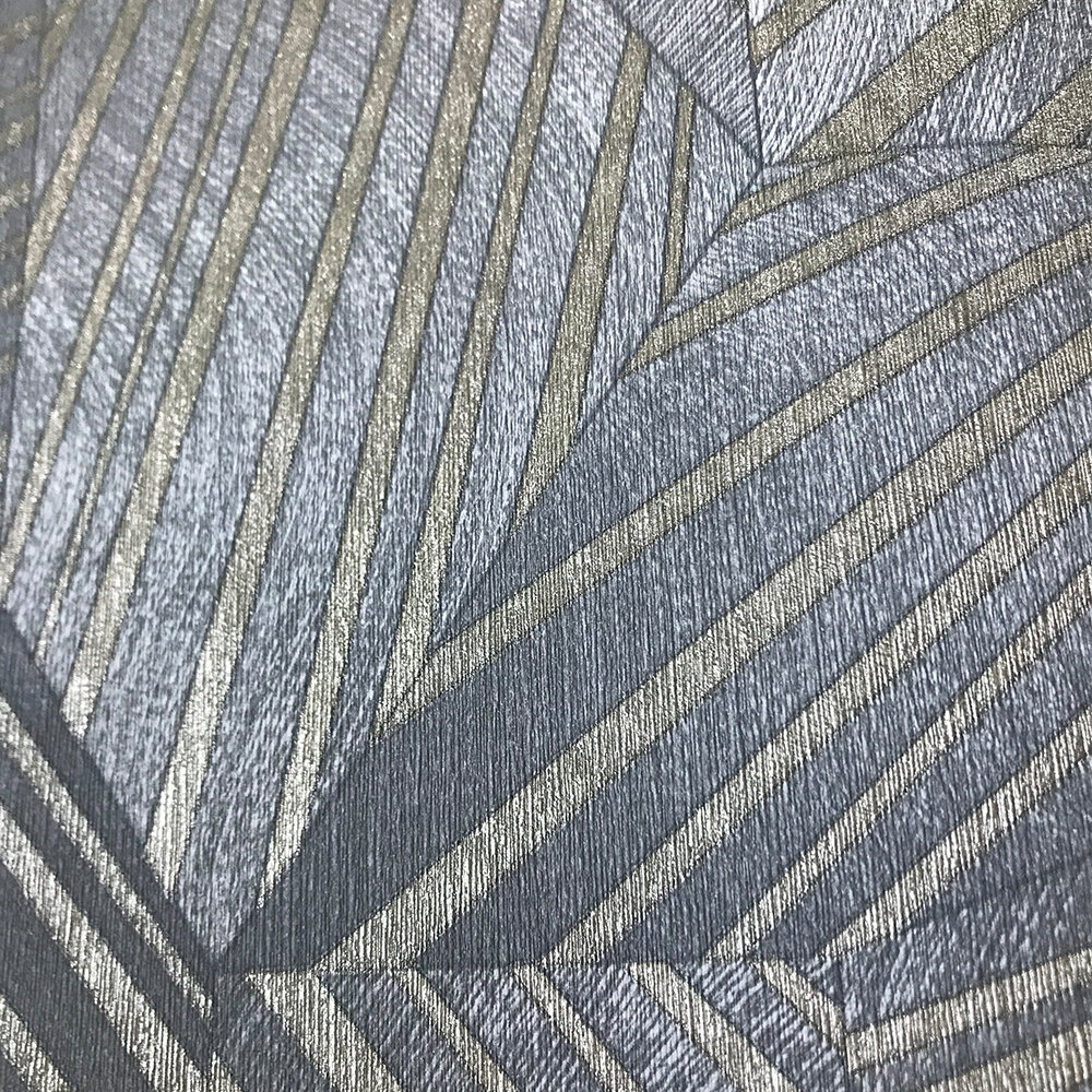 Geometric D Triangle Wallpaper - Grey/ Gold - by Galerie