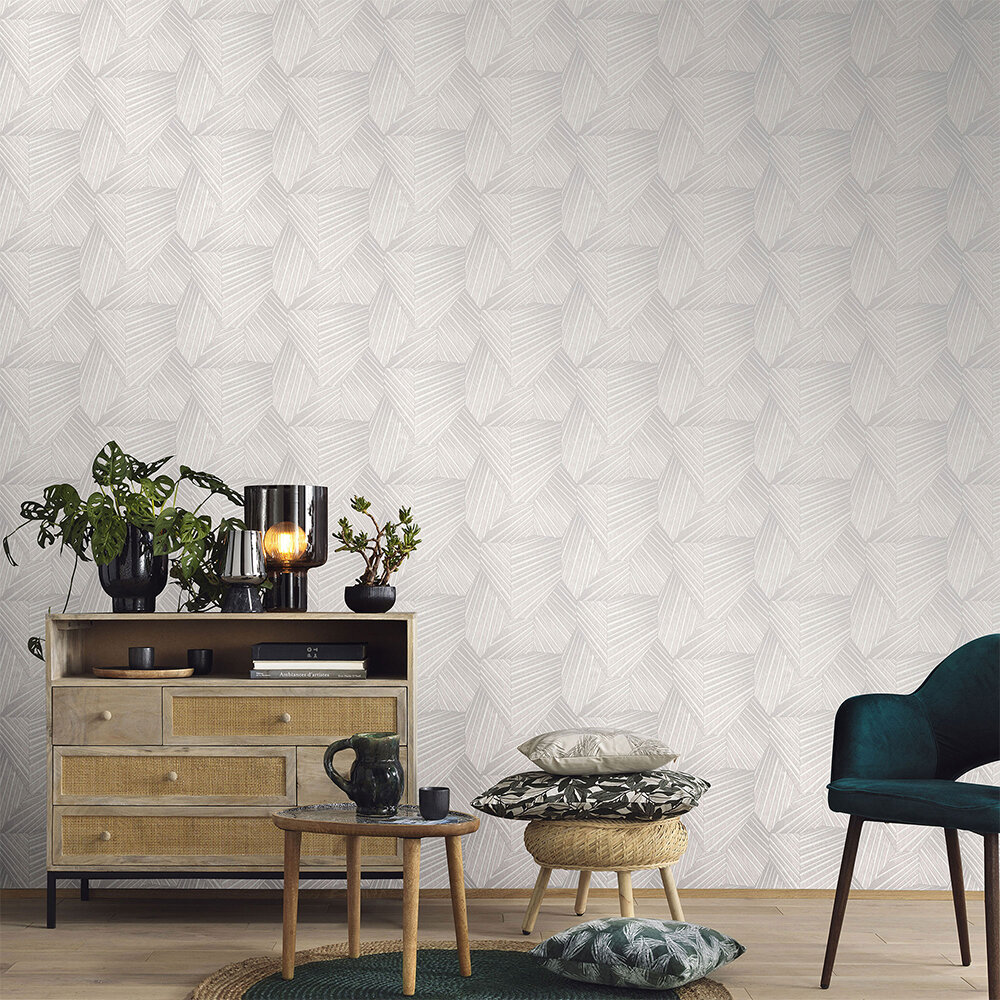 Geometric D Triangle Wallpaper - Light Grey/ Cream - by Galerie