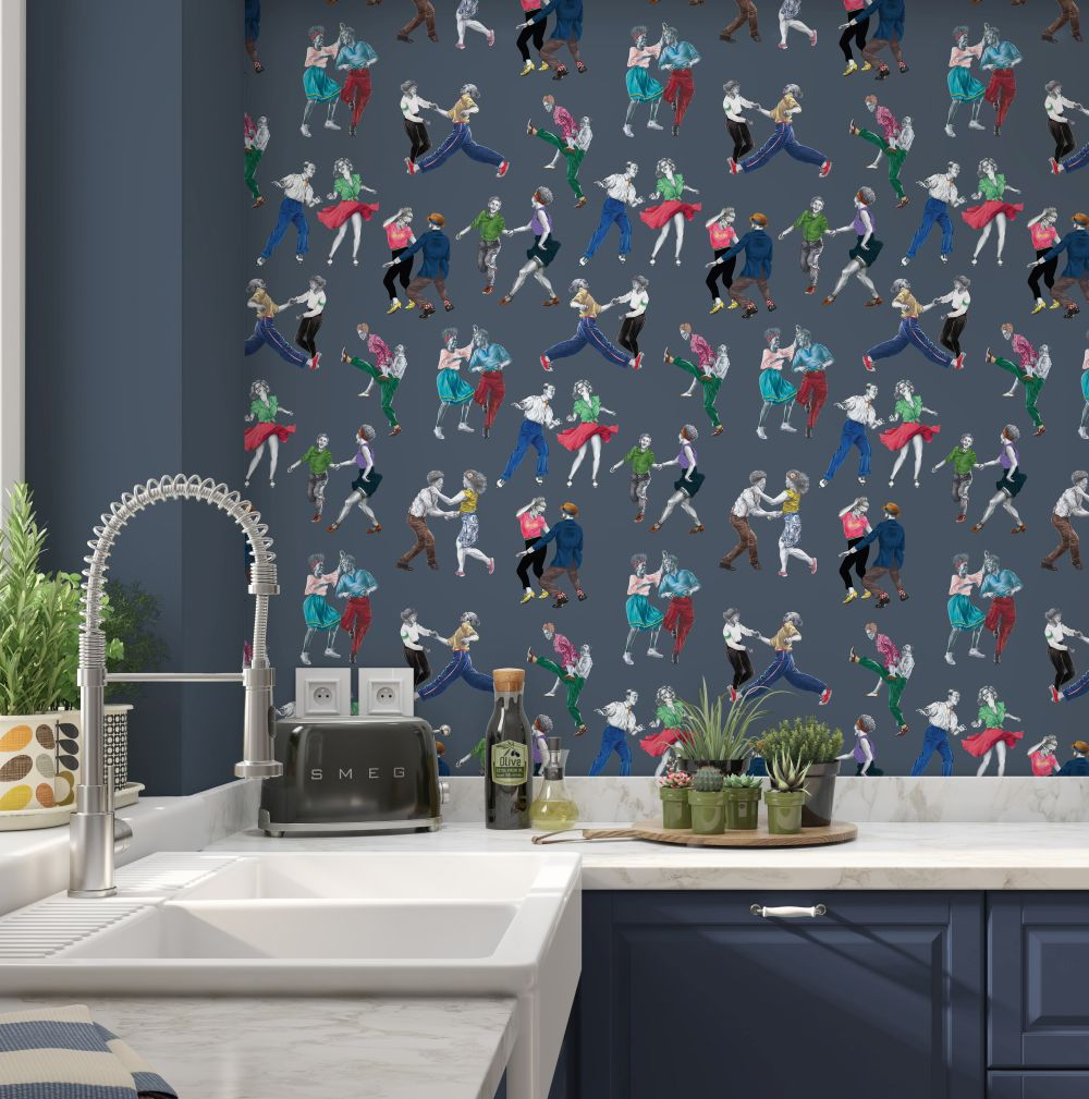 Swing Time Wallpaper - Blue - by Graduate Collection