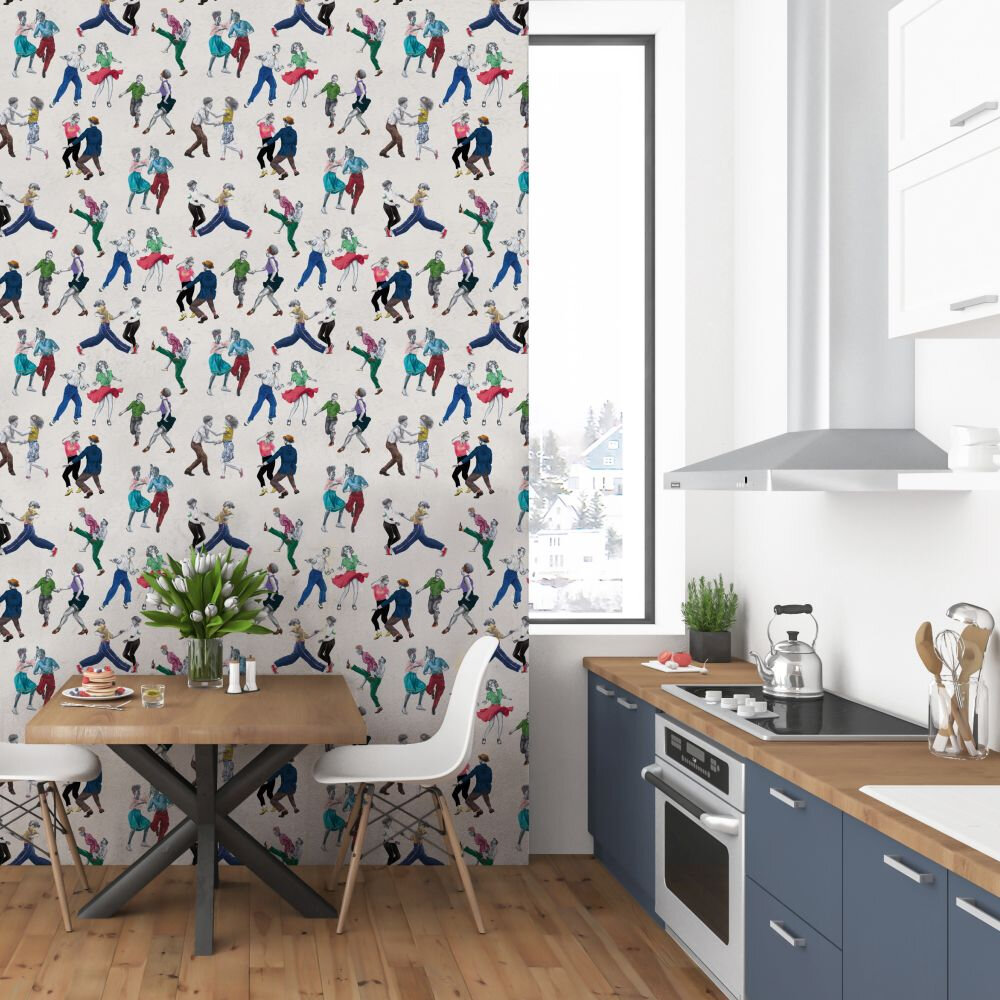 Swing Time Wallpaper - Cream - by Graduate Collection