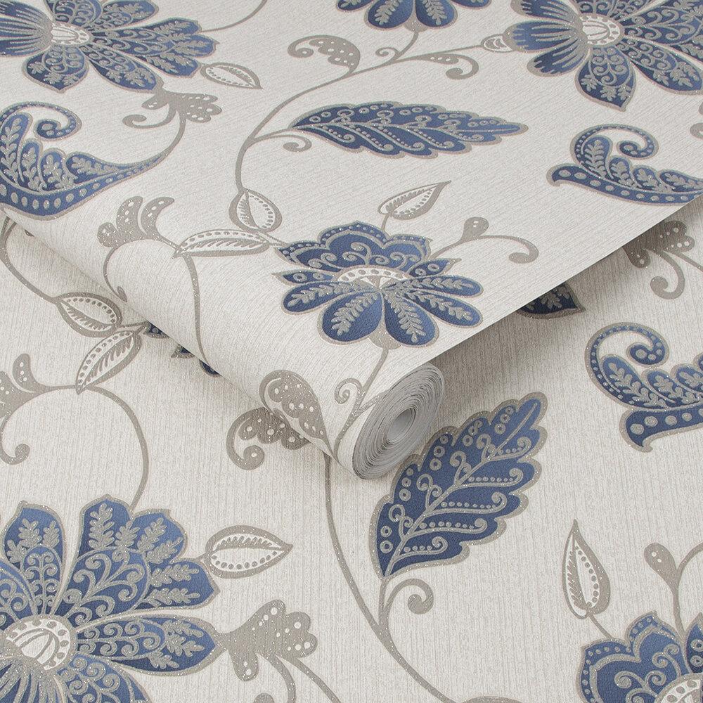 Juliet Wallpaper - Sapphire - by Graham & Brown