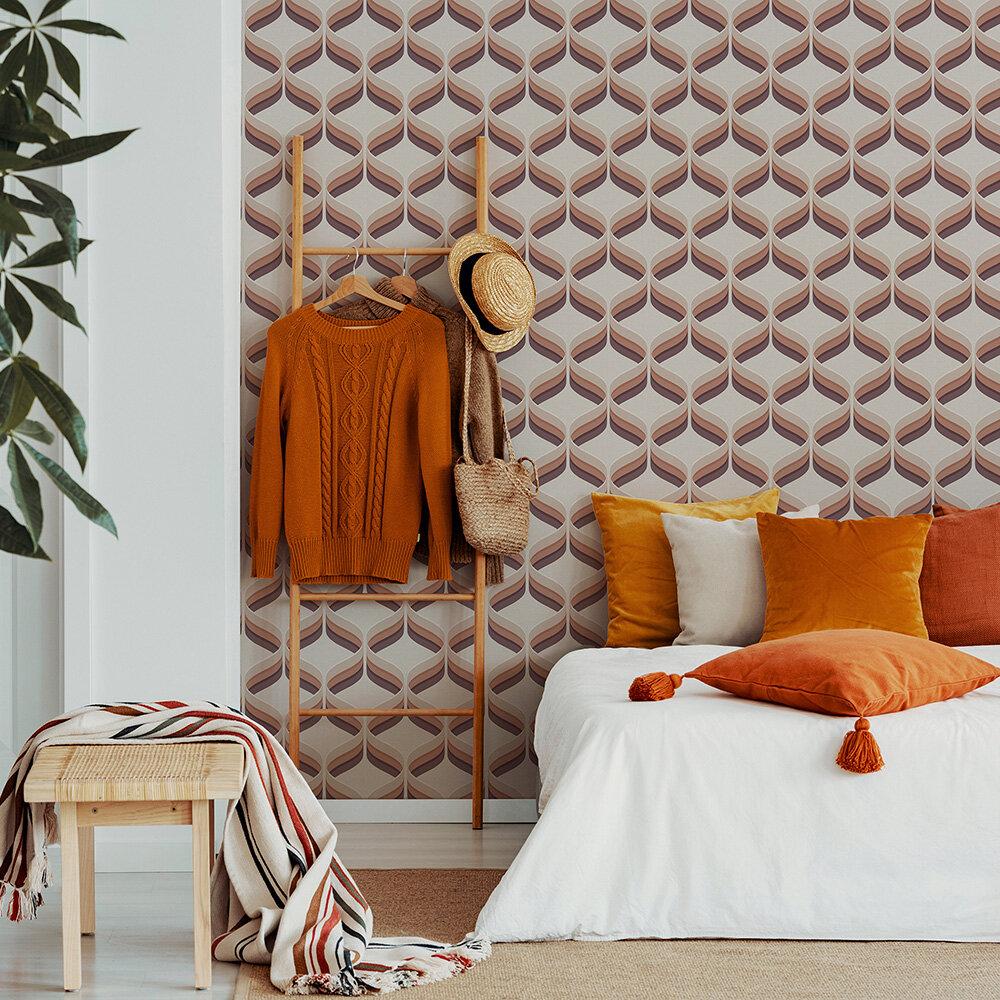 Retro Ogee Wallpaper - Burnt Orange - by Fresco
