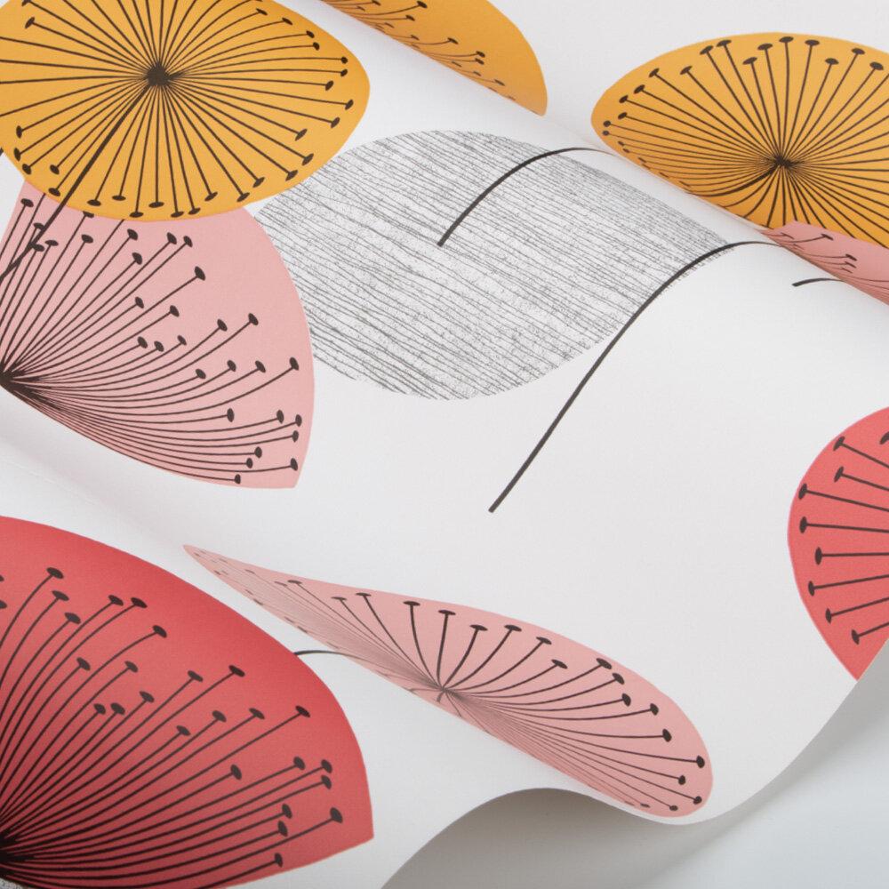Dandelion Clocks Wallpaper - Coral - by Sanderson