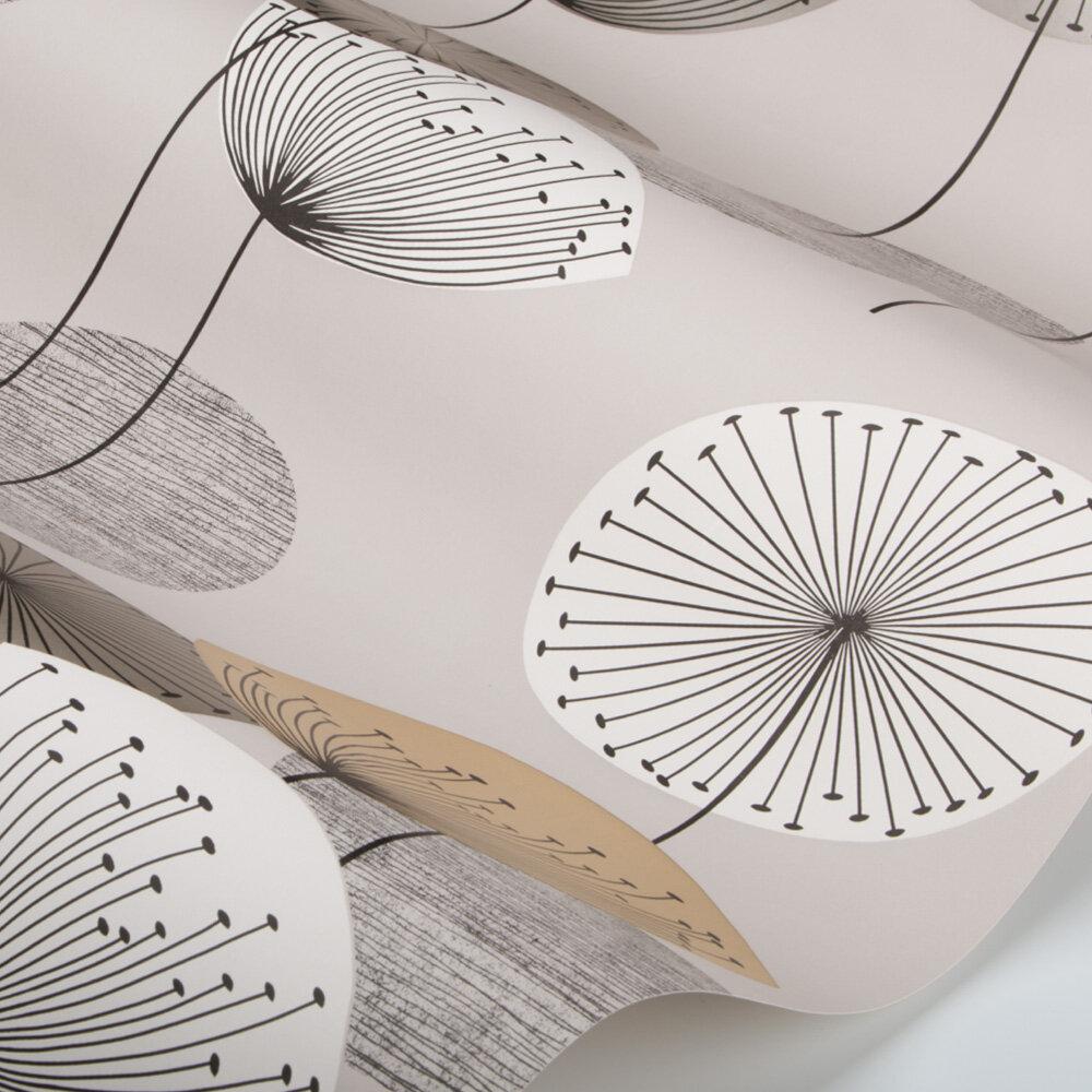 Dandelion Clocks Wallpaper - Metallic / Smoke Tree - by Sanderson