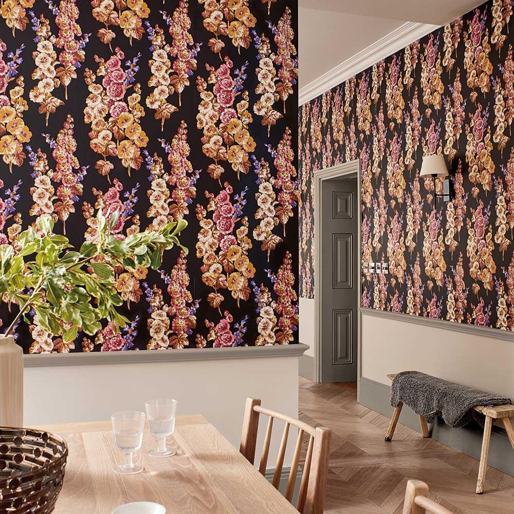 Hollyhocks Wallpaper - Copper / Rhodera - by Sanderson