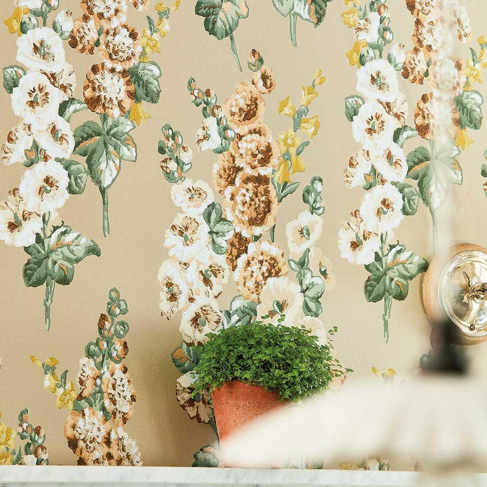 Hollyhocks Wallpaper - Gold Metallic / Tan - by Sanderson