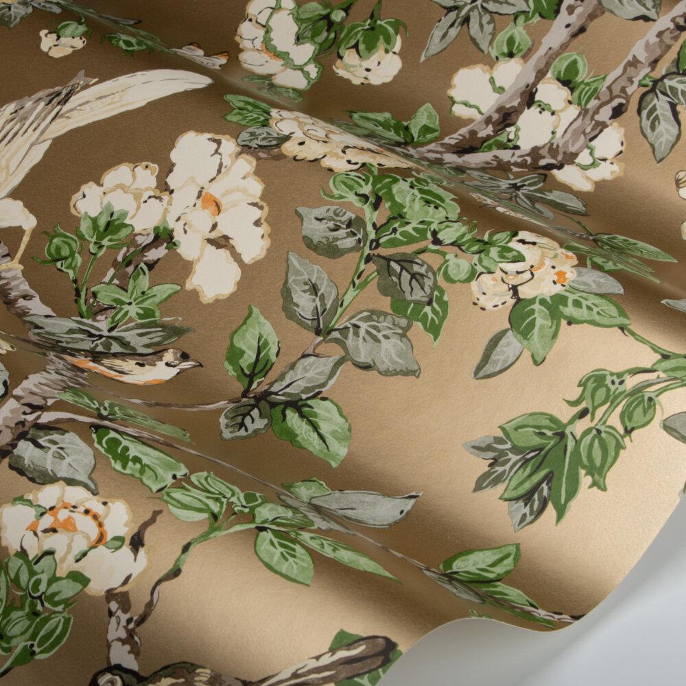 Caverley Wallpaper - Gold Metallic / Gardenia Green - by Sanderson