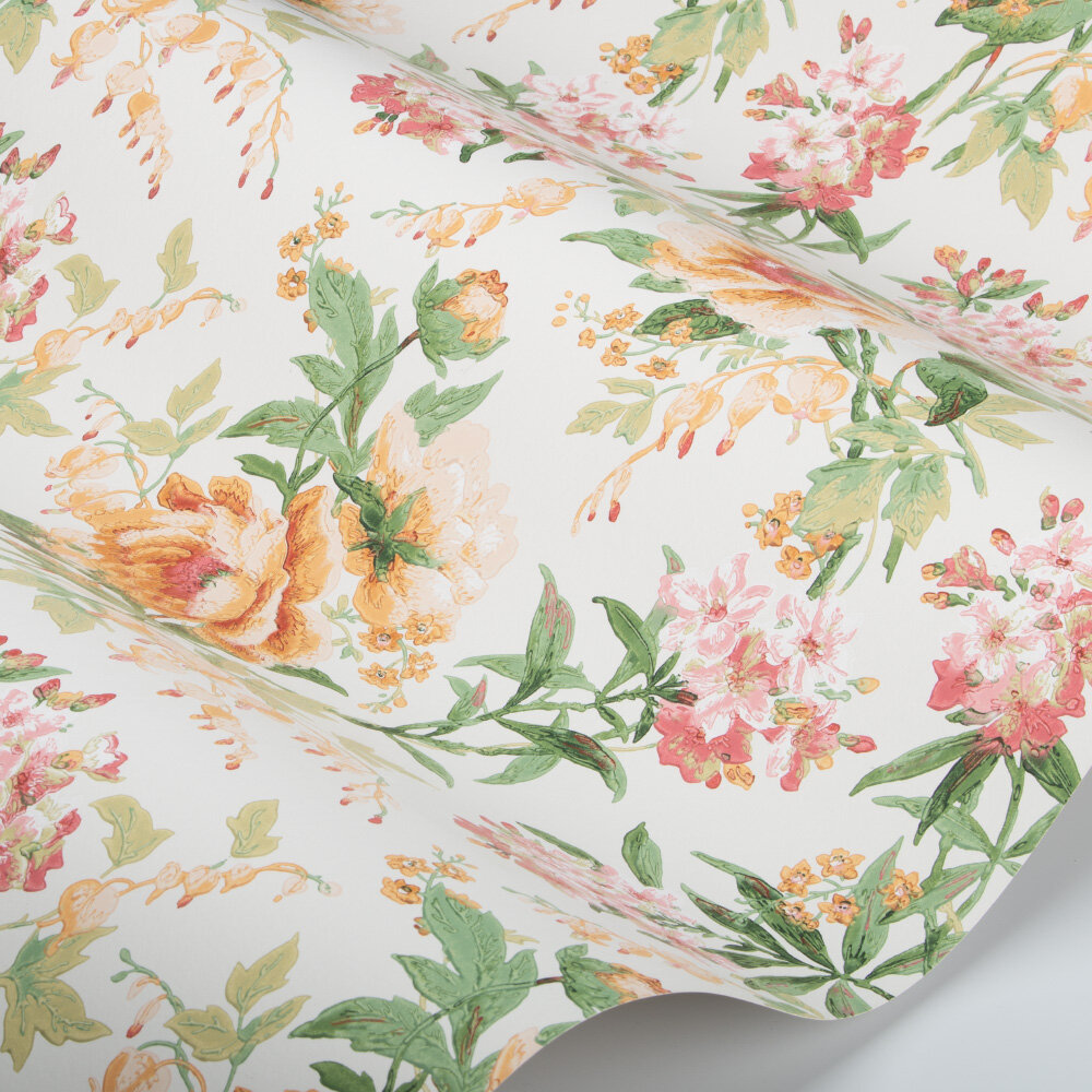 Olivia Wallpaper - Botanical Green / Orange - by Sanderson