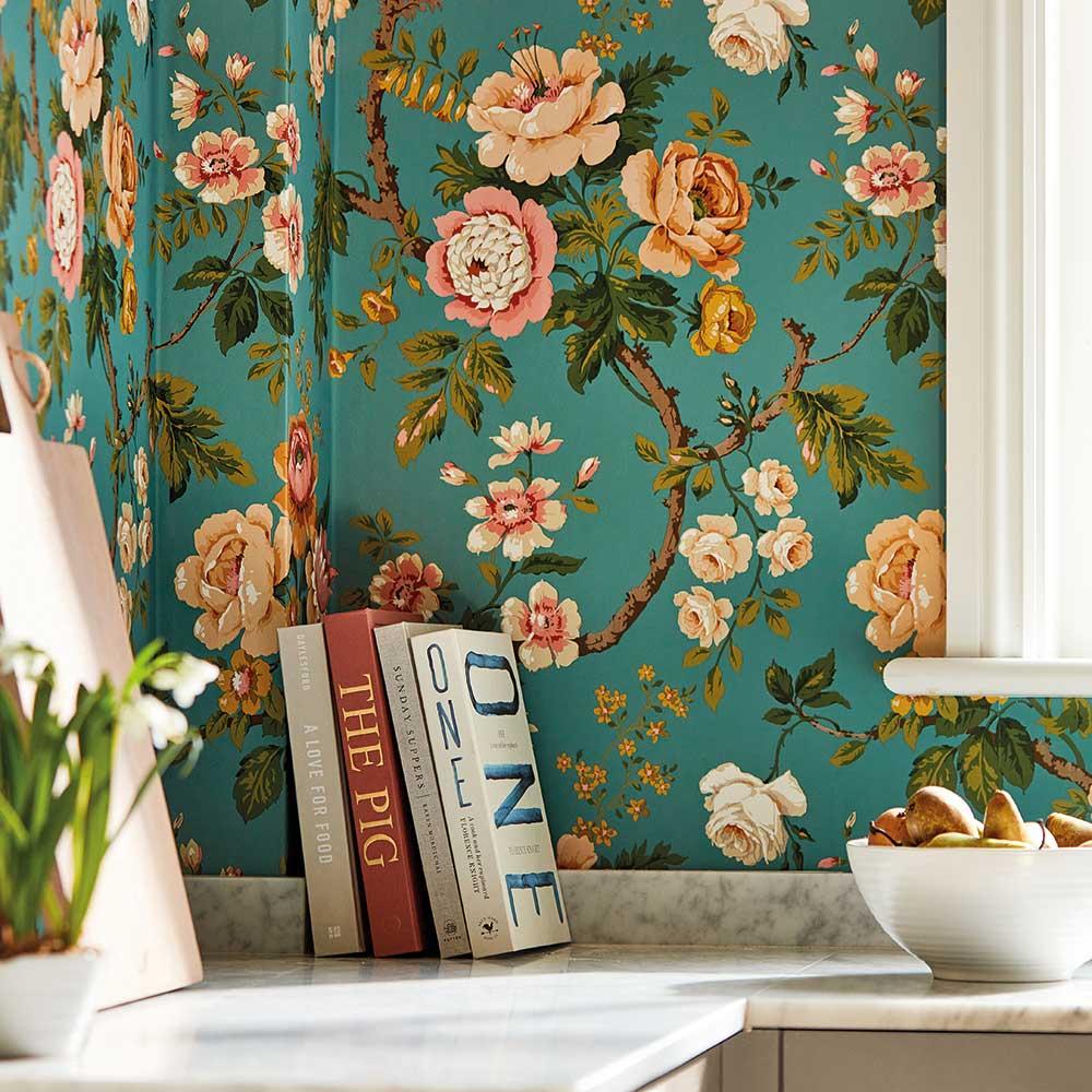 Hykenham Wallpaper - High Sea / Ginger - by Sanderson