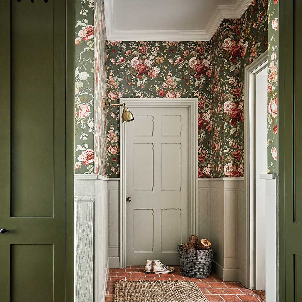 Stapleton Park Wallpaper - Olive / Bengal Red - by Sanderson