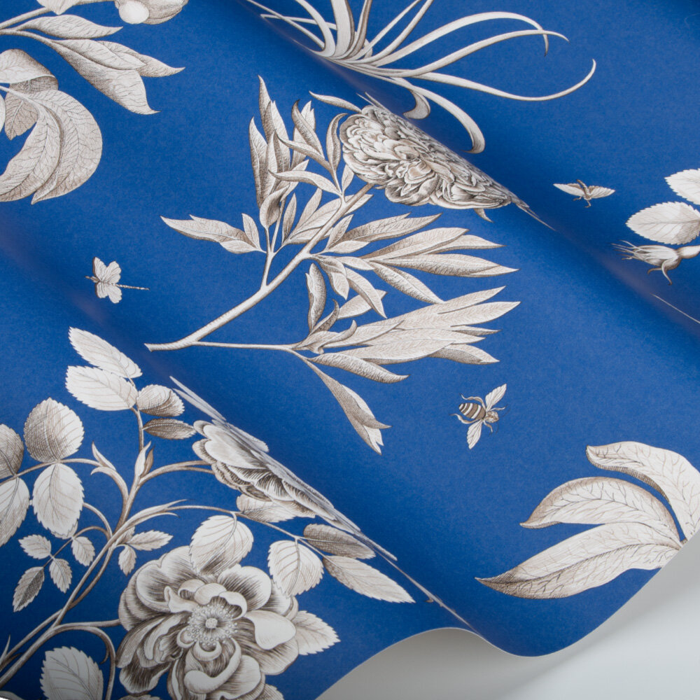 Etchings and Roses Wallpaper - French Blue - by Sanderson