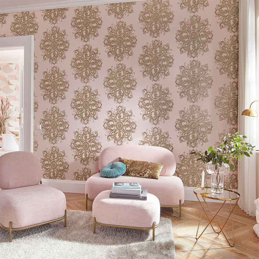 Baroque Damask Wallpaper - Blush Pink/ Gold - by Galerie