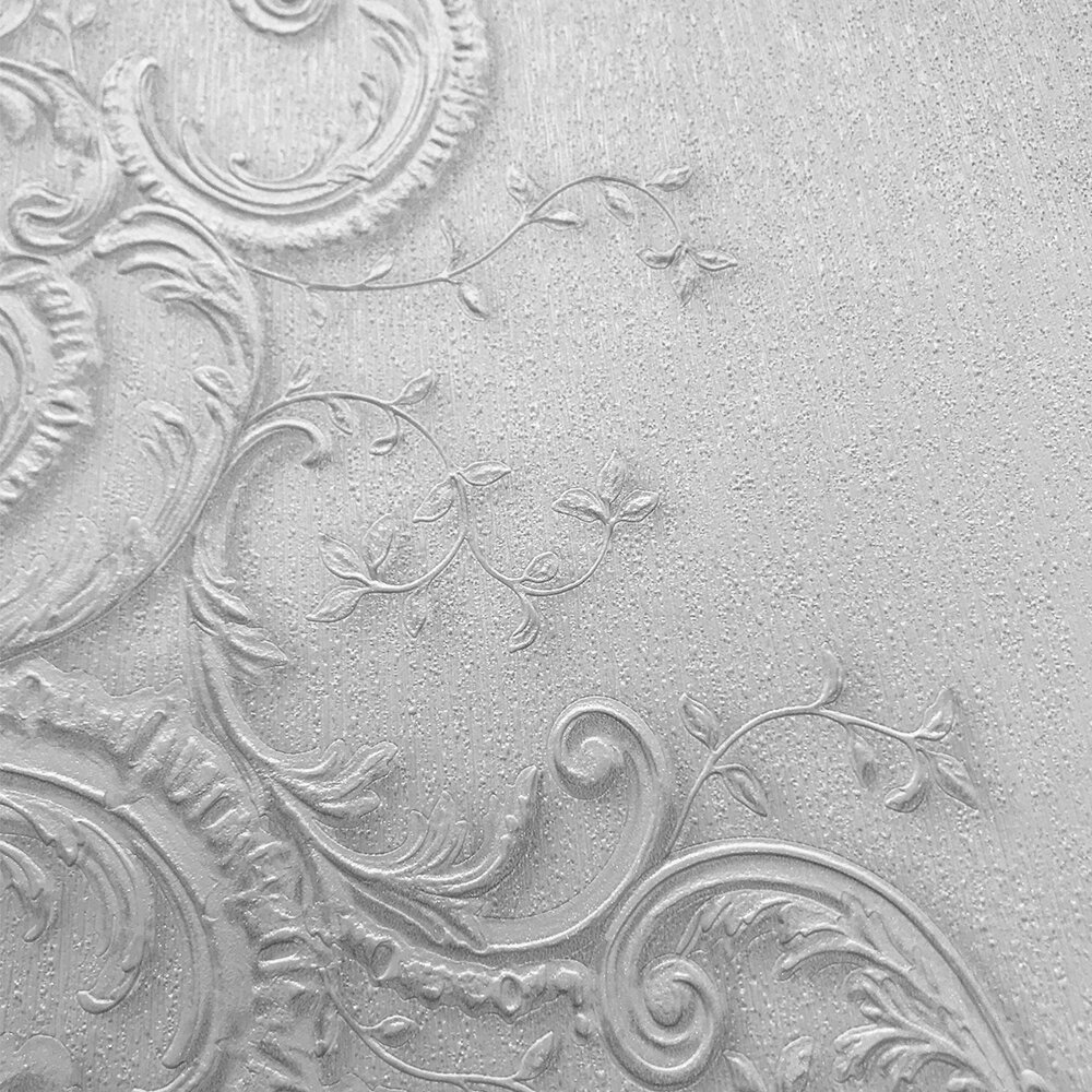 Baroque Damask Wallpaper - Cream/ Light Silver - by Galerie