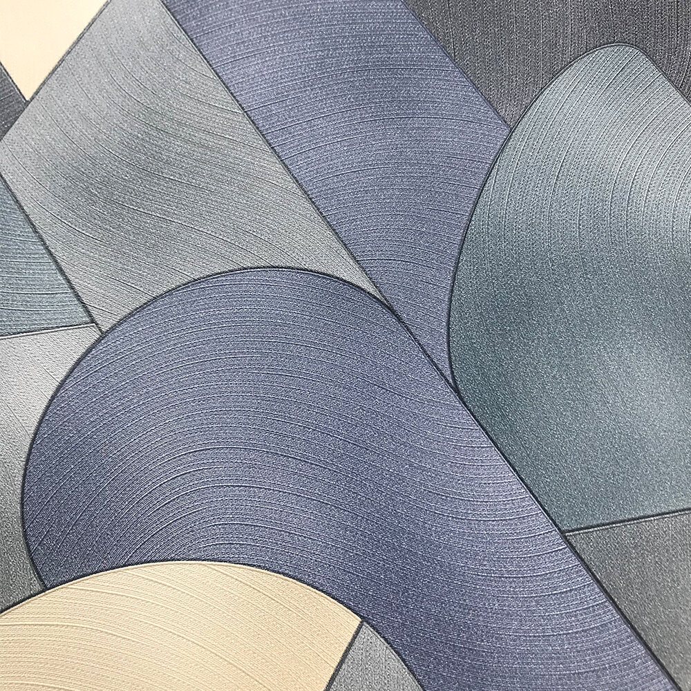 3D Geometric Graphic Wallpaper - Blue/ Teal/ Beige - by Galerie