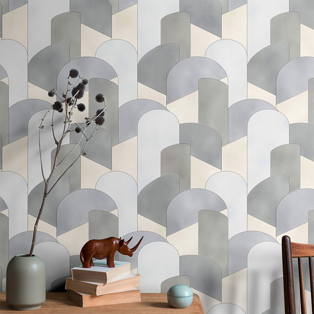 3D Geometric Graphic Wallpaper - Grey/ Silver/ Beige - by Galerie