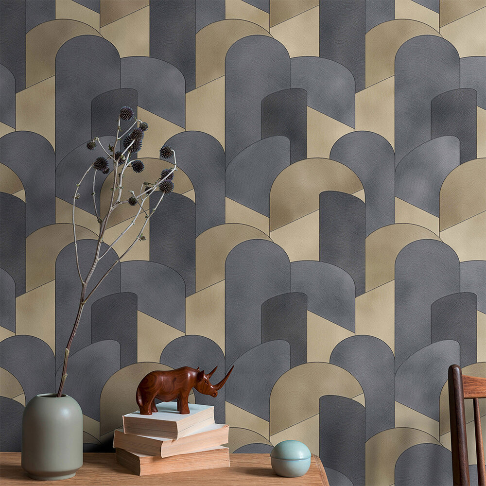3D Geometric Graphic Wallpaper - Gold/ Black - by Galerie