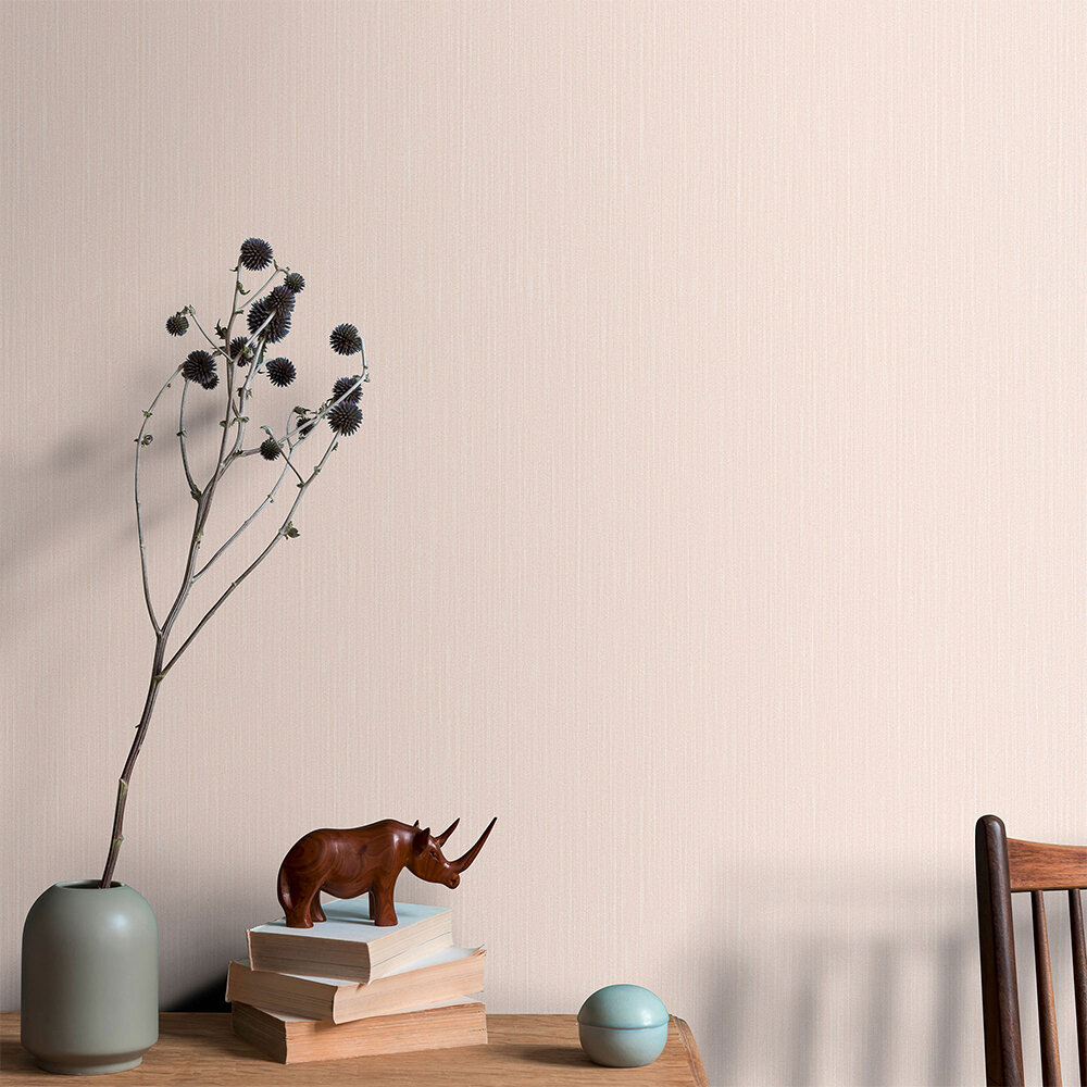 Plain Structure Wallpaper - Blush Pink - by Galerie