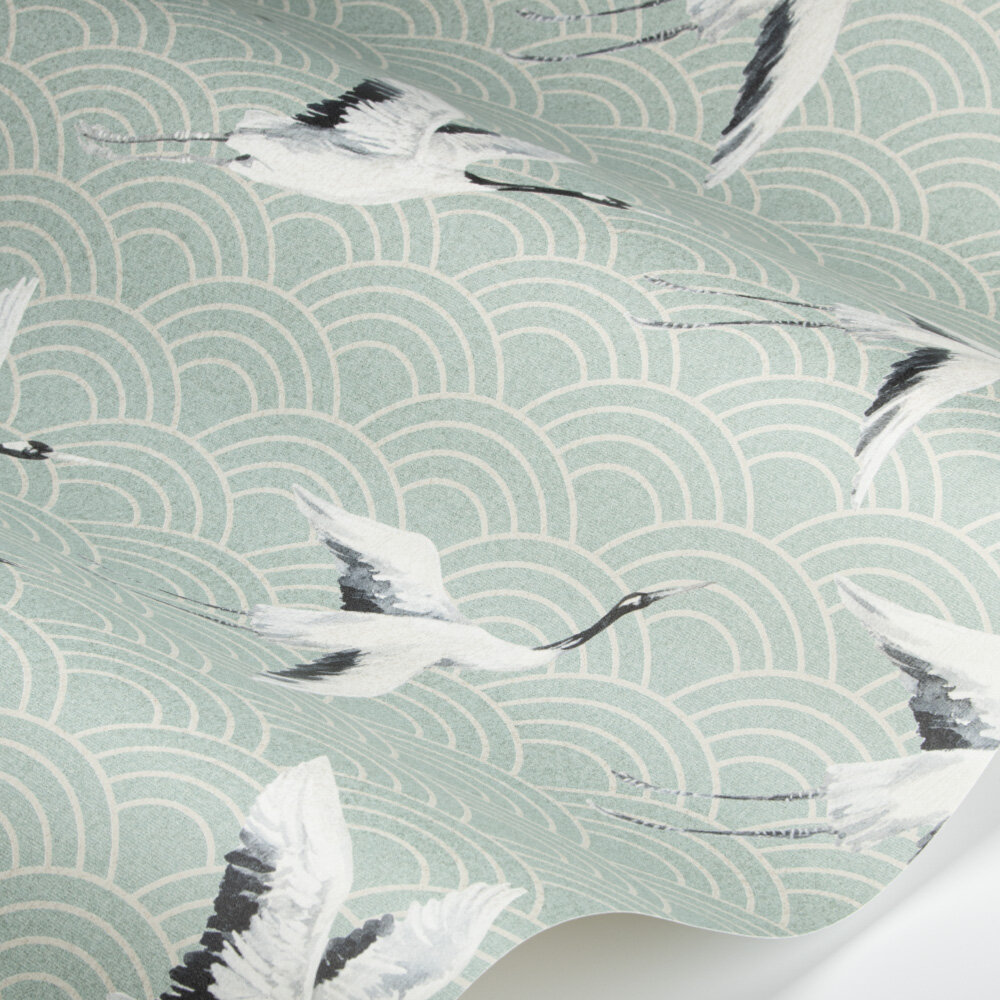 Japanese Cranes Wallpaper - Oriental Green - by SketchTwenty 3
