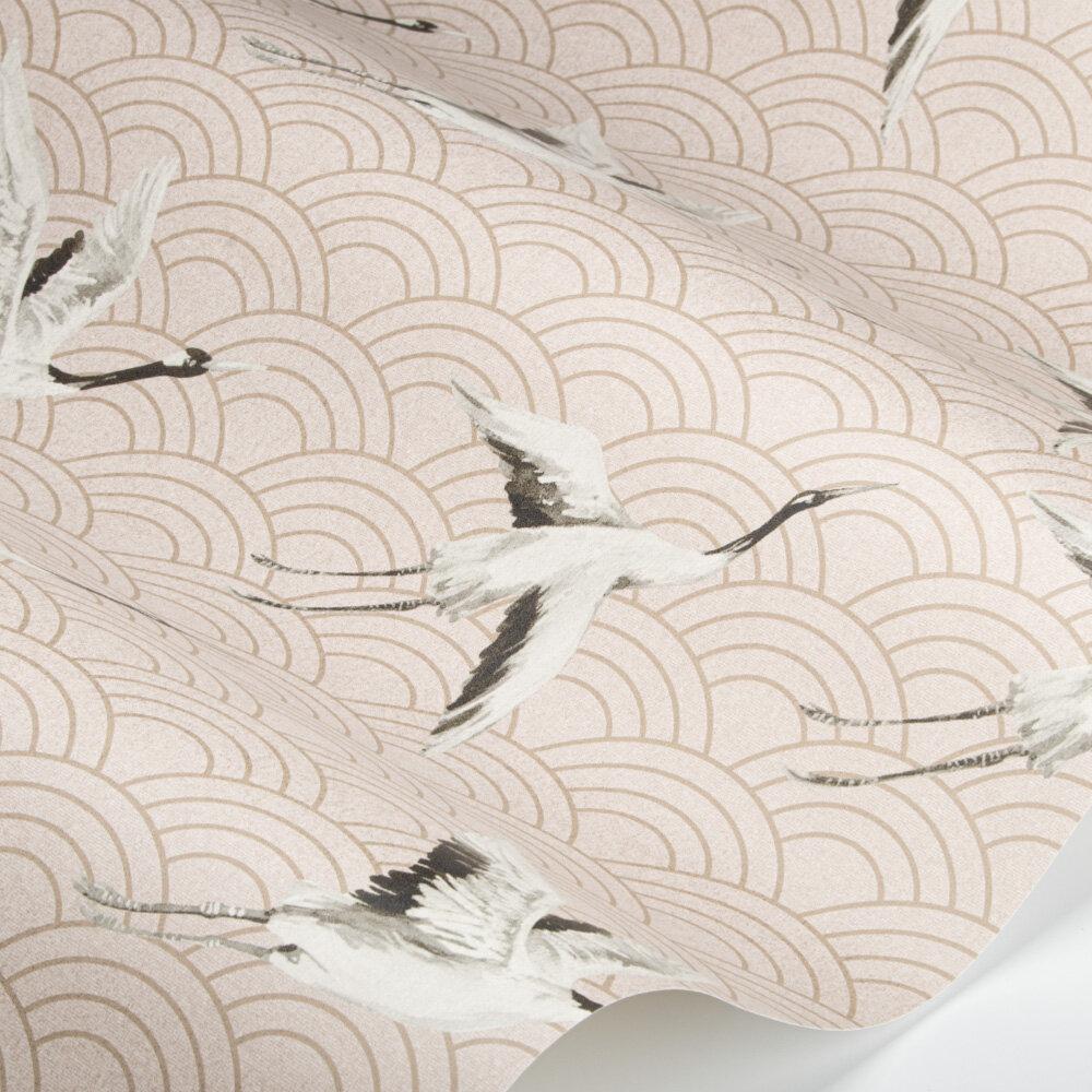 Japanese Cranes Wallpaper - Salmon - by SketchTwenty 3