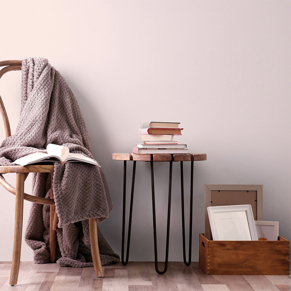 Plain Structure Wallpaper - Light Blush Pink - by Galerie