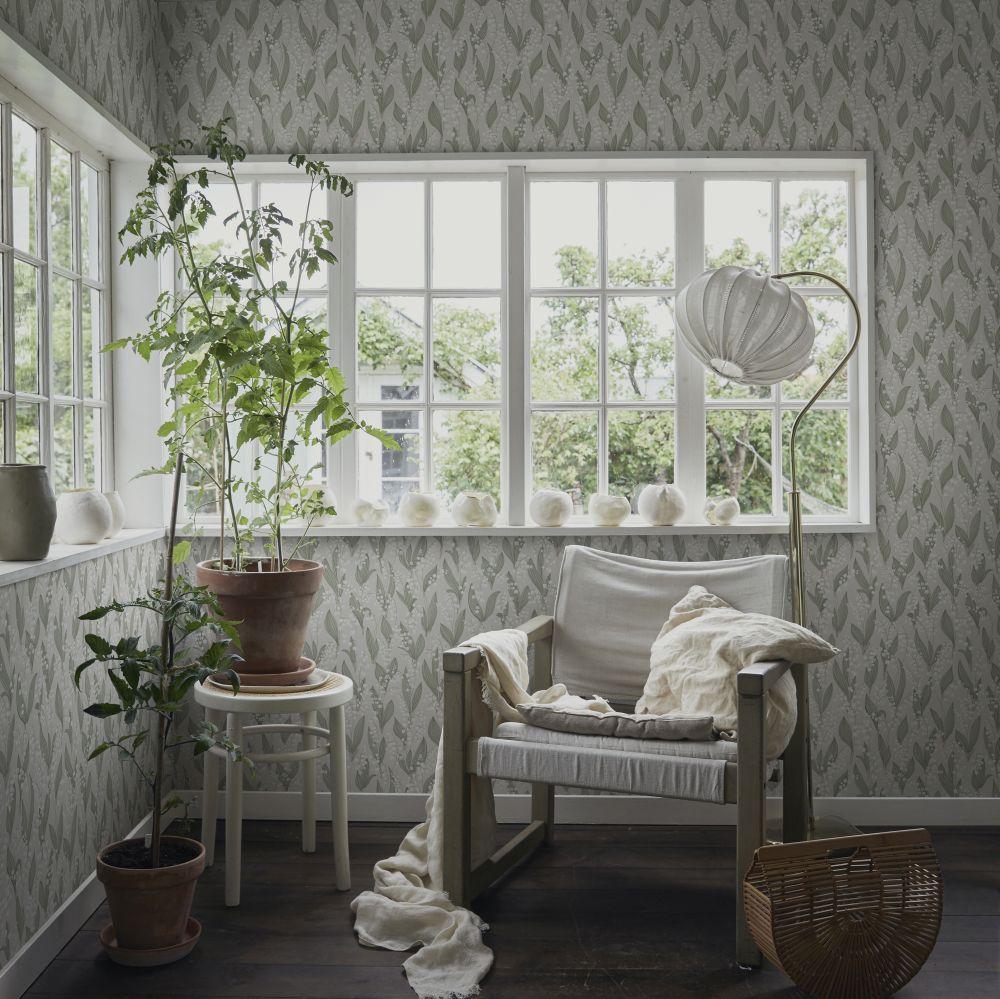 Lilijekonvalj Wallpaper - Spring Green - by Sandberg