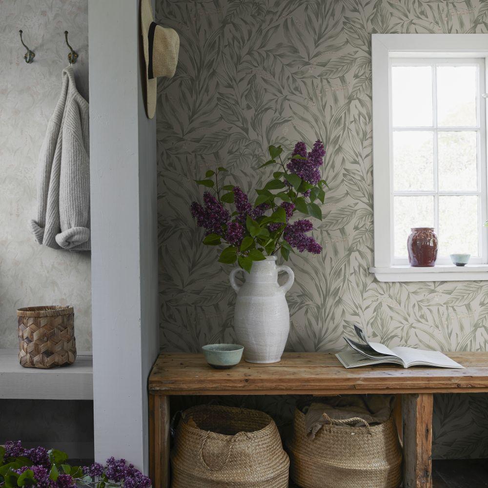 Elin Wallpaper - Sage Green - by Sandberg