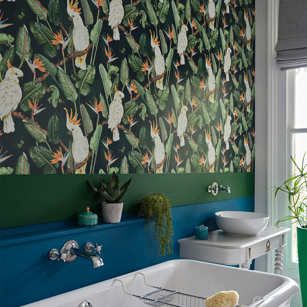 Birds of Paradise Wallpaper - Ocean - by Isabelle Boxall