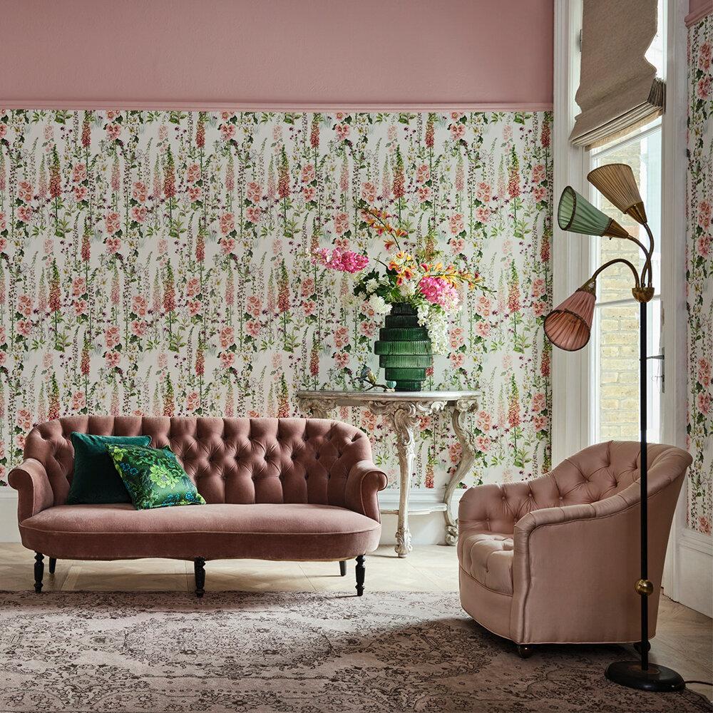 Foxglove Garden Wallpaper - Blush - by Isabelle Boxall