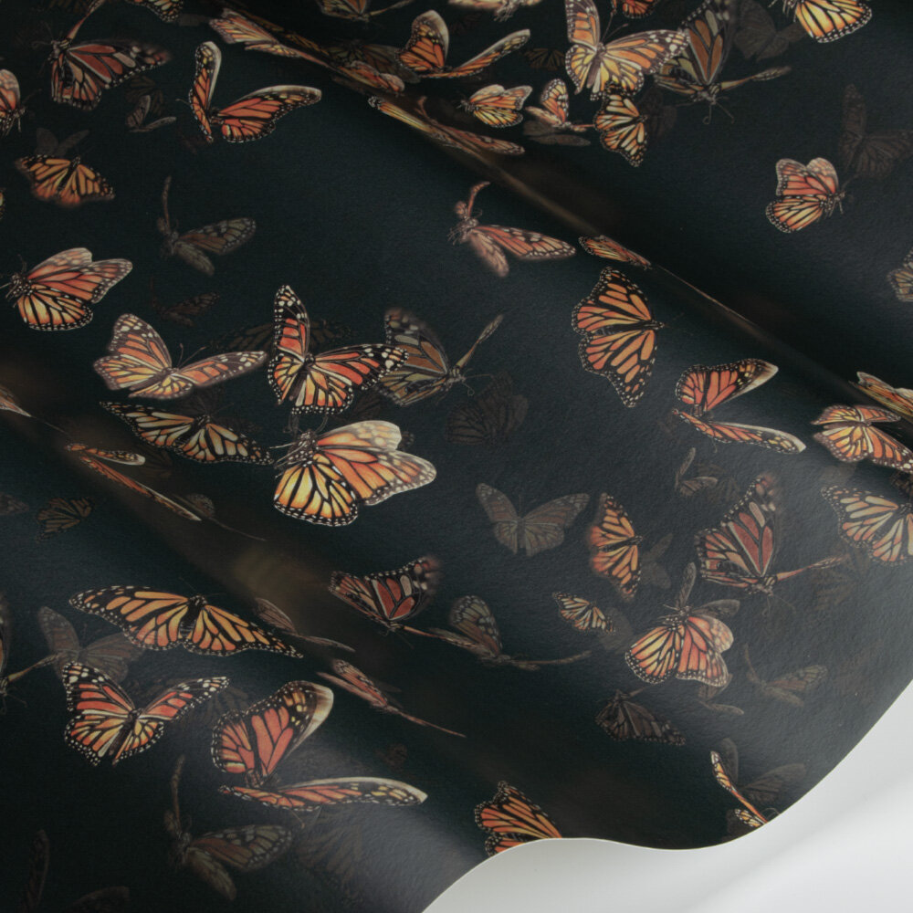 Flight of Monarchs Wallpaper - Slate - by Isabelle Boxall