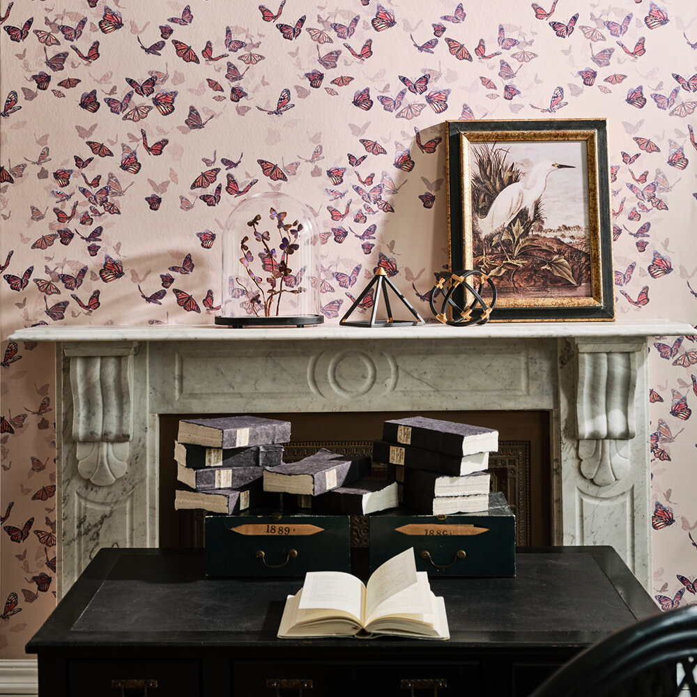 Flight of Monarchs Wallpaper - Clay - by Isabelle Boxall