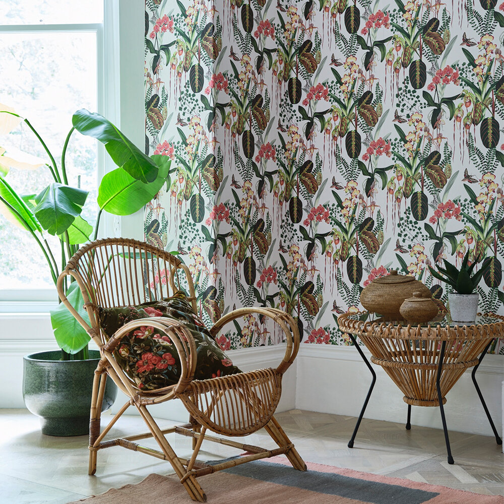 Orchid Jungle Wallpaper - Fennel - by Isabelle Boxall