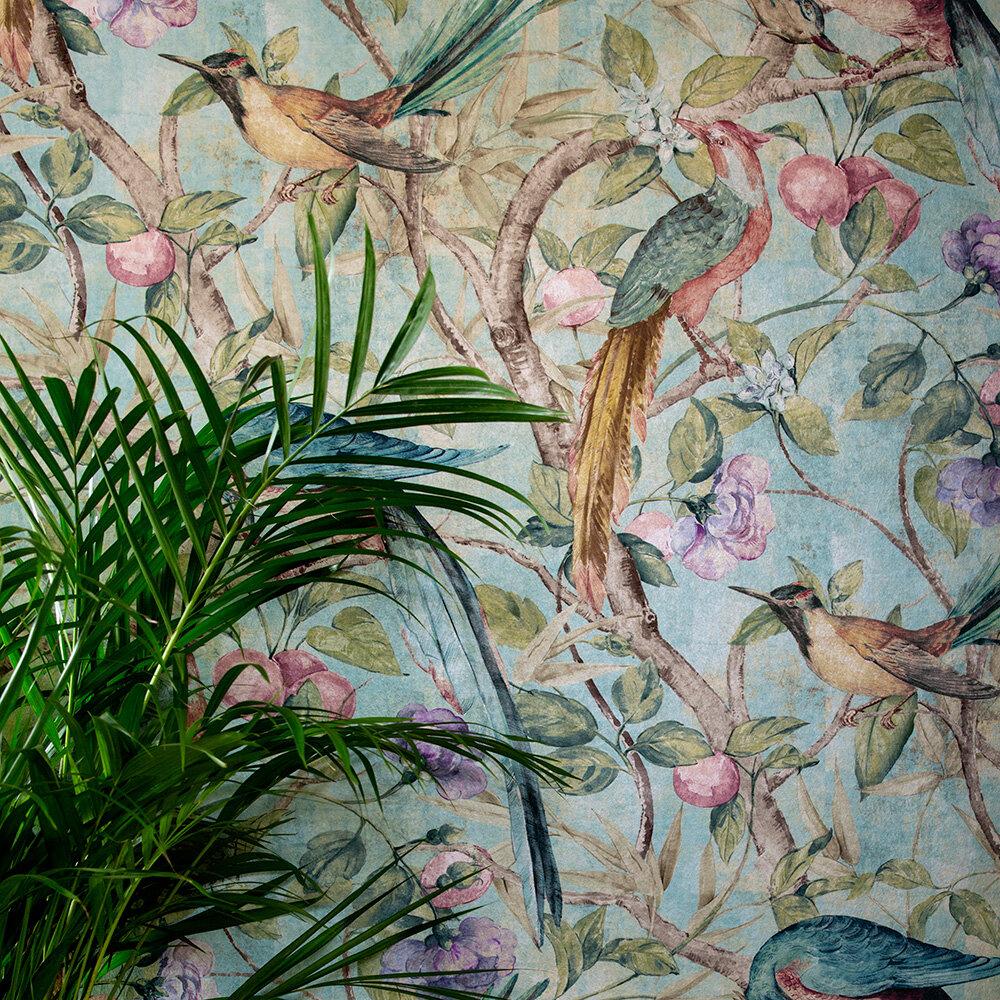 Orangerie Wallpaper - Teal - by Sidney Paul & Co