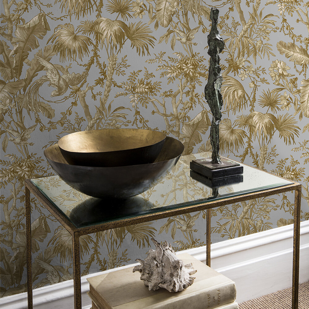 The Lost Gardens Toile Wallpaper - Dove - by Sidney Paul & Co